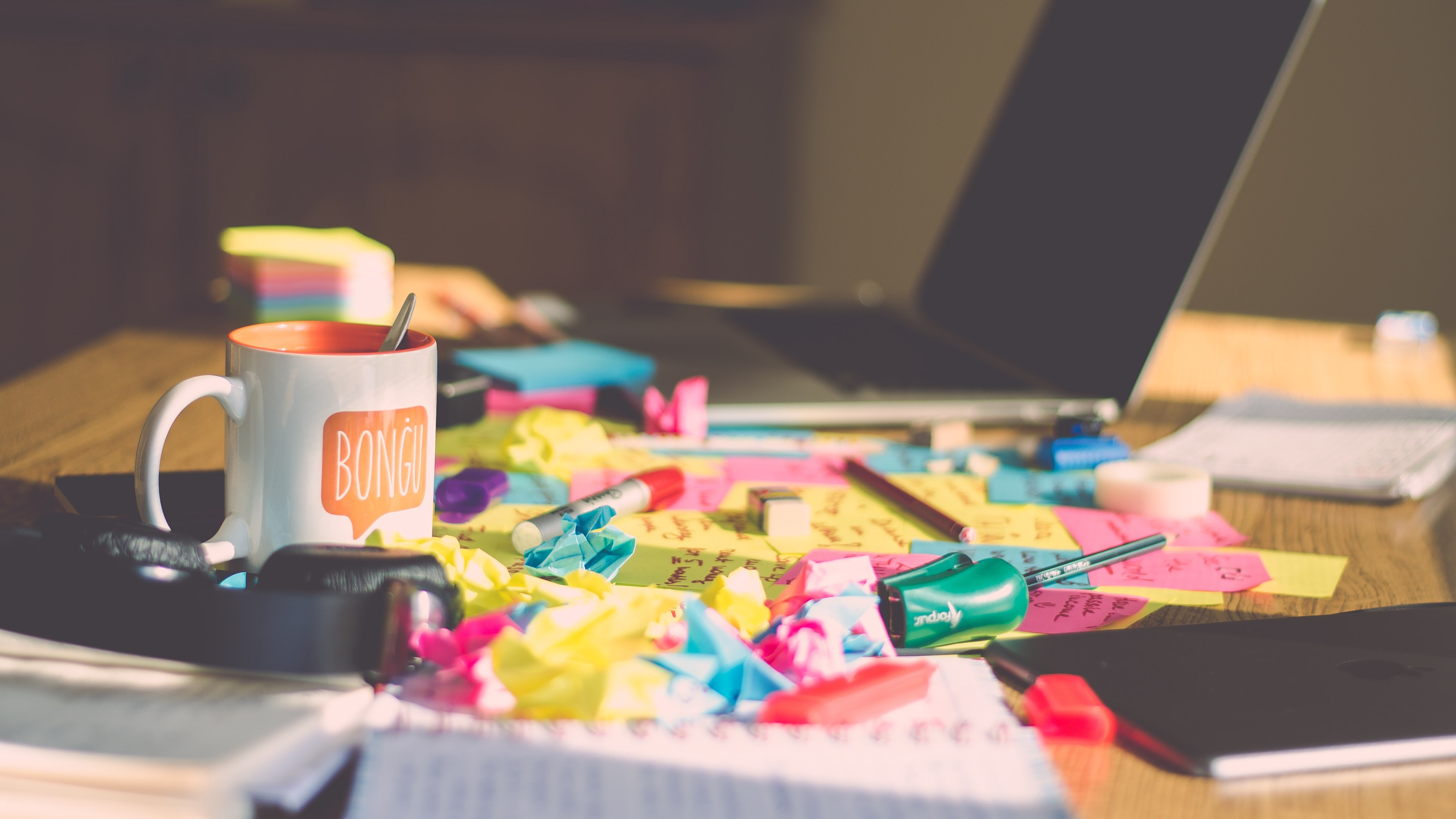 Sticky notes on a table