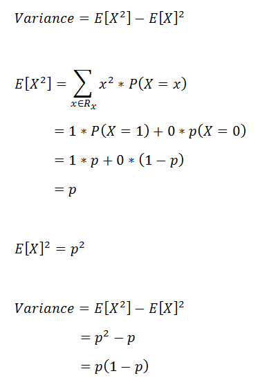 Figure 25: Proof of variance for the Bernoulli distribution. | Bernoulli Distribution a Probability Tutorial with Python