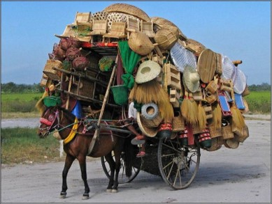 Overloaded donkey with baskets and hats on it's back