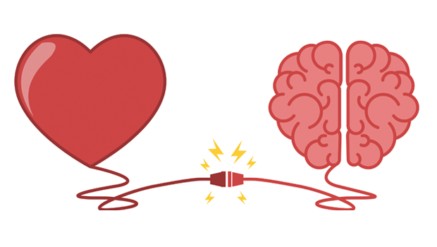 A heart and a brain connected by an electricity wire to prove the magic of connecting EQ and EI.