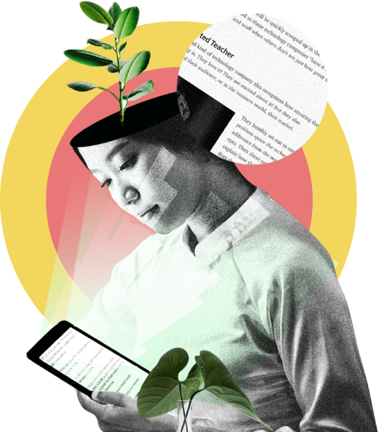 image of woman with a plant growing from her head reading a medium post on her tablet