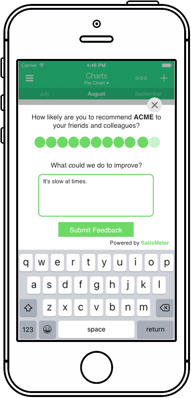Collect Net Promoter Scores inside your App - SatisMeter