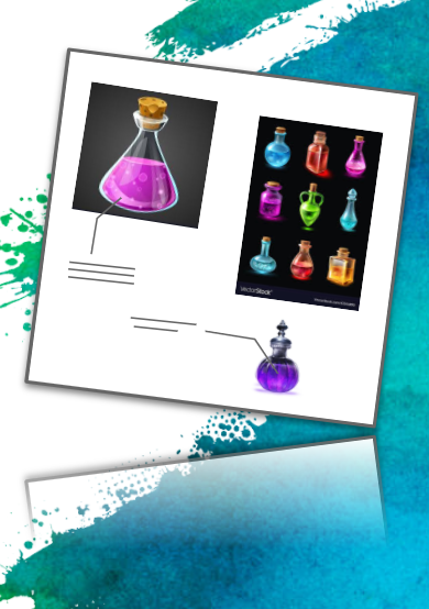 A simplified art board featuring a number of pictures of potions