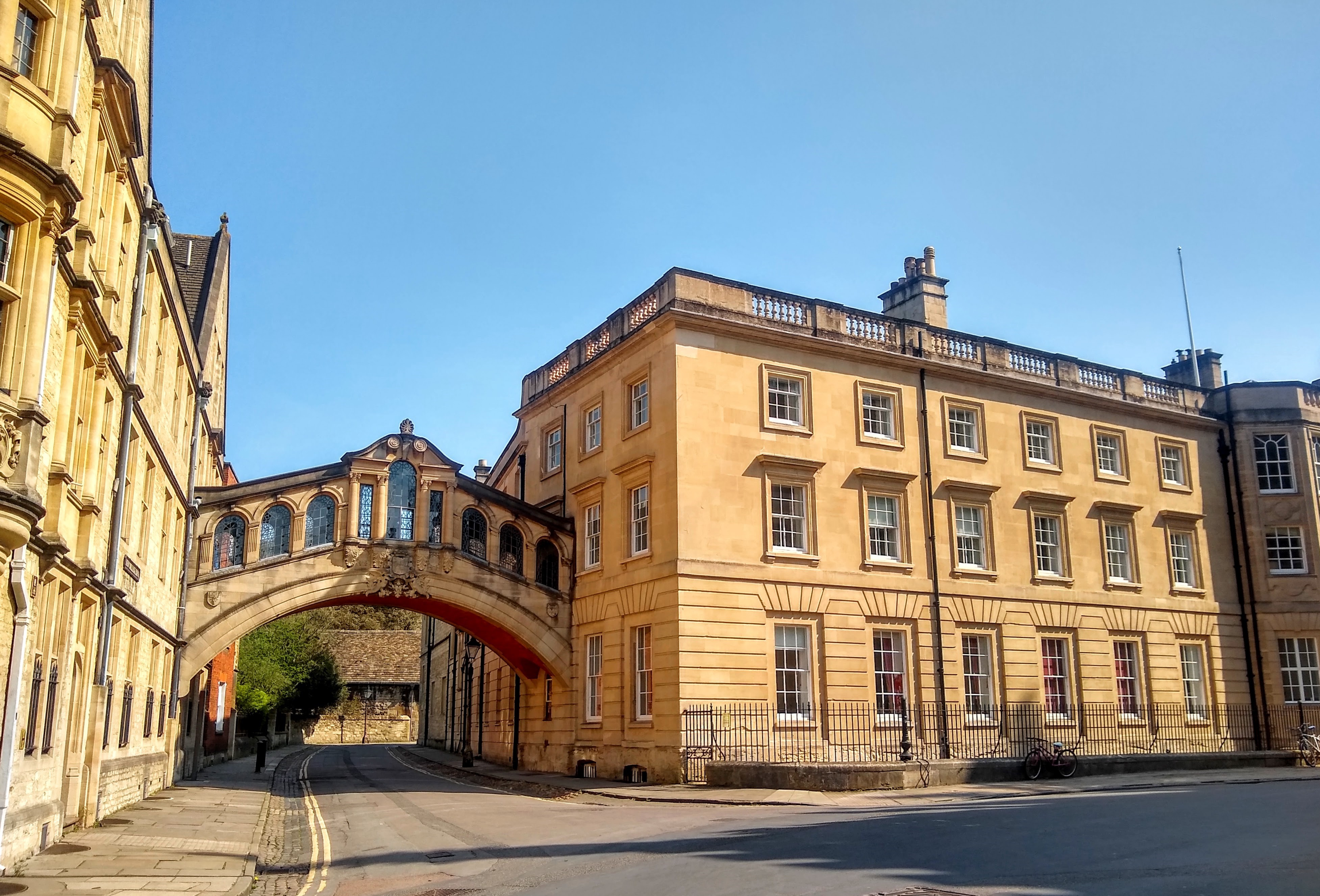 A view of the Bridge of Sighs in a deserted Oxford during lockdown