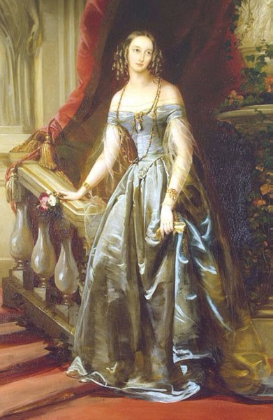 Painting of Olga in her late teens, wearing a blue silk dress. Her brown hair is curled in bunches of ringlets at her ears.