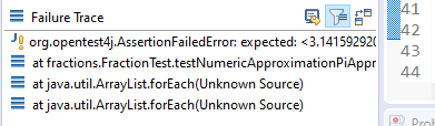 Example failure trace in Eclipse.