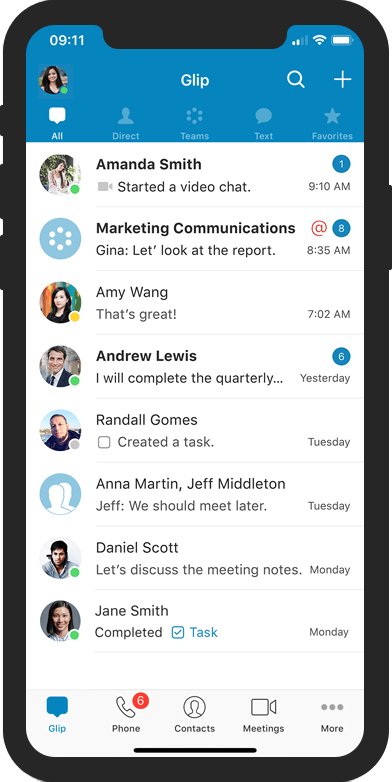 Example of messaging on RingCentral UC Glip