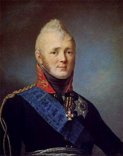 Tsar Alexander I in a military uniform with a blue sash and high red collar with golden embroidery.