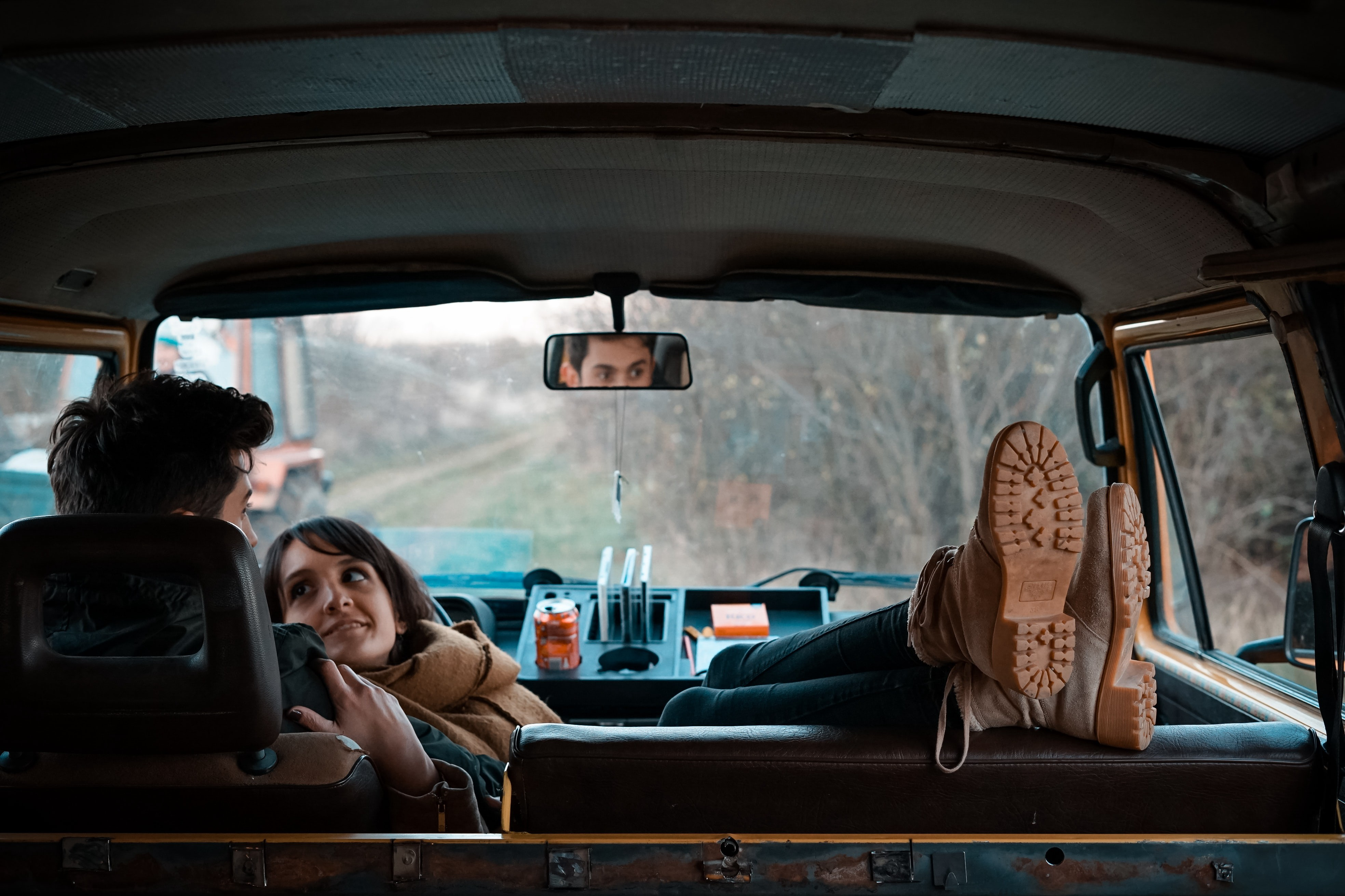 Couple relaxing in a car