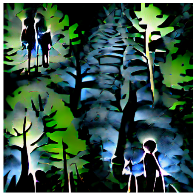 """GAN (CLIP and taming transformer)generated image of """"2 children walking in the black forest"""""""