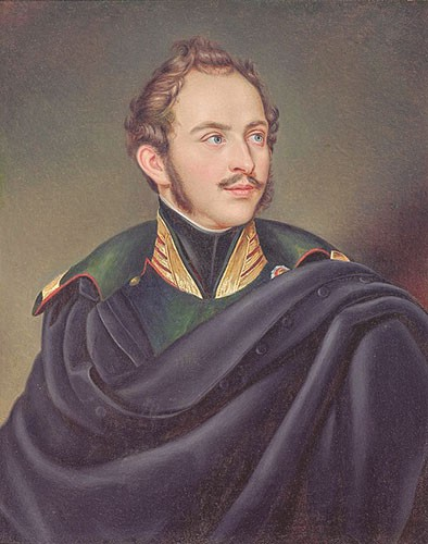 Prince Max painted as a young man. He has long sideburns and a small mustache. He's wearing a blue cape over a green uniform.