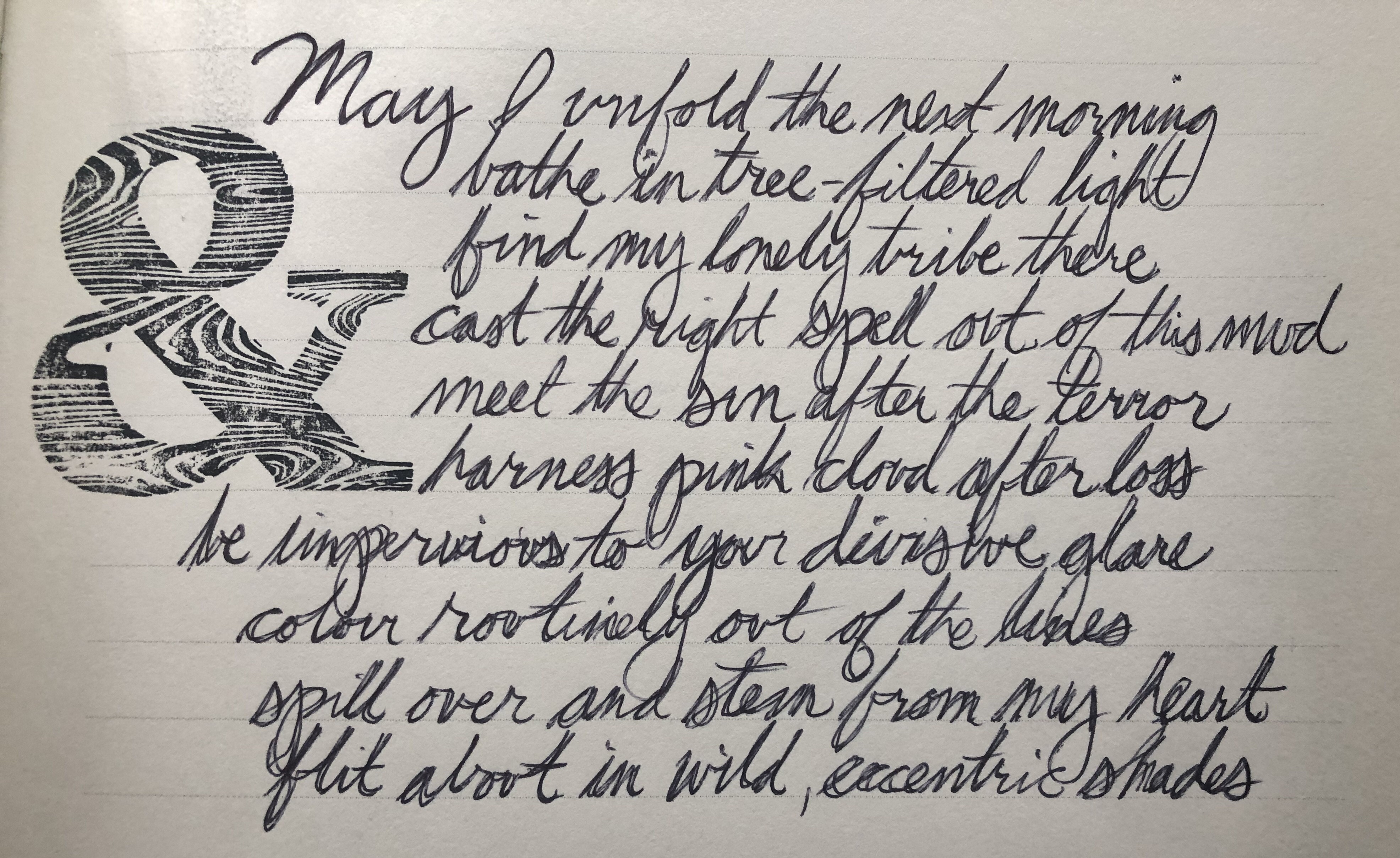 Hand written version of poem in cursive with ampersand stamp to left. Jessica Lee McMillan © 2020