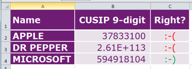 CUSIP codes: where it could go wrong - Using specialist