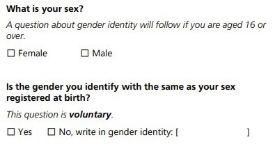 Questions on sex and gender that will appear in the ONS 2021 census. The fist question read: 'What is your sex? A question about gender identity will follow if you are aged 16 or over'. The options are 'Female' or 'Male'. The second question reads: 'Is the gender you identify with the same as your sex registered at birth? This question is voluntary'. The options are 'Yes' or 'No', with the option to 'write in gender identity' following the 'No' option.