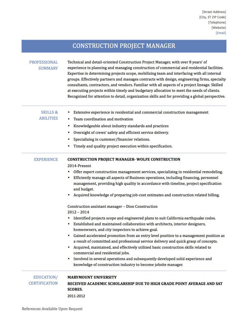 Construction Project Manager By Online Resume Builders Medium