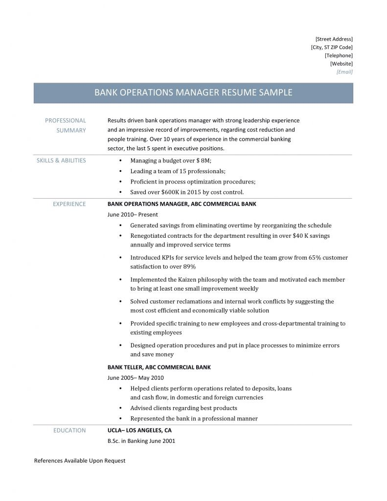 Bank Operations Manager Resume Sample By Online Resume Builders