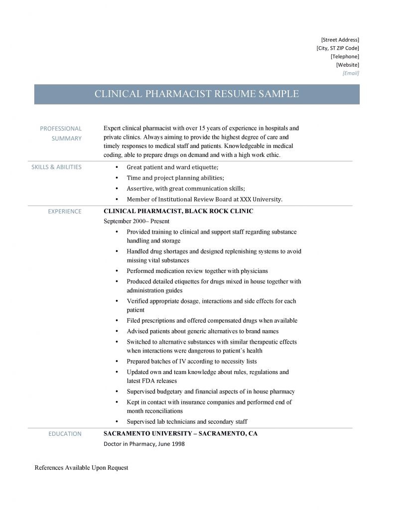 clinical pharmacist resume samples - online resume builders