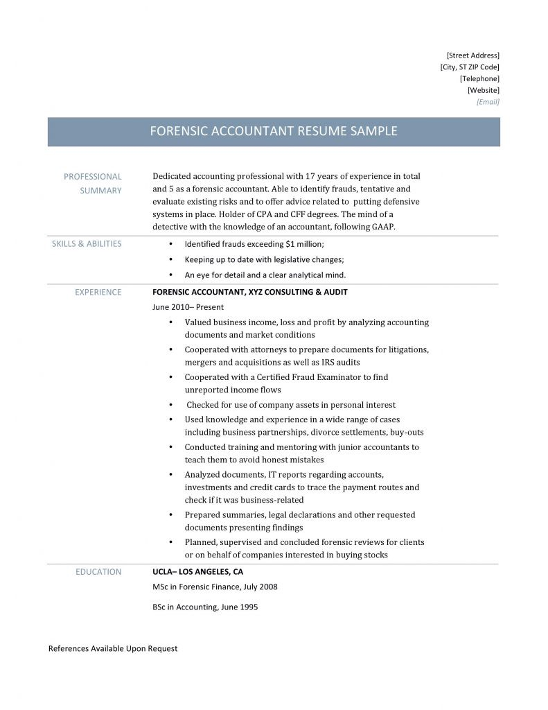 Forensic Accountant Resume Samples Templates And Job Descriptions By Online Resume Builders Medium