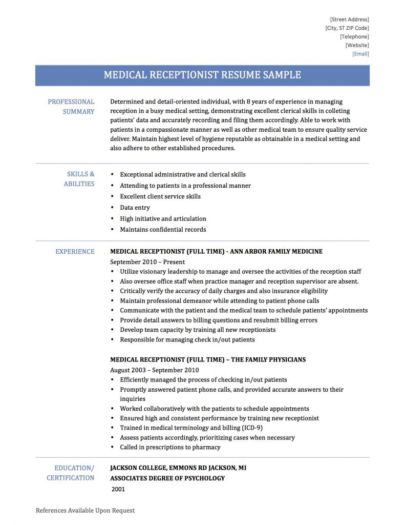 Medical Receptionist Resume Samples Templates And Tips By Online
