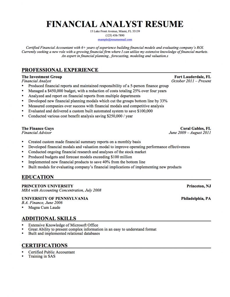financial analyst resume samples templates  tips