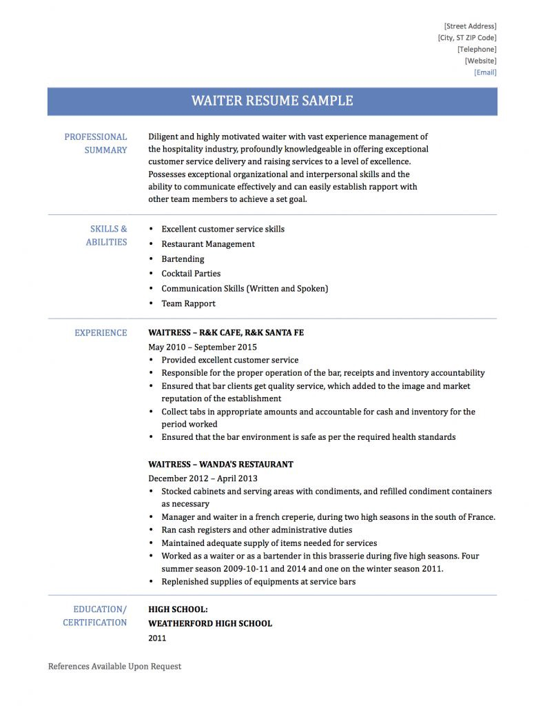 Waiter Resume Samples Templates And Tips Online Resume