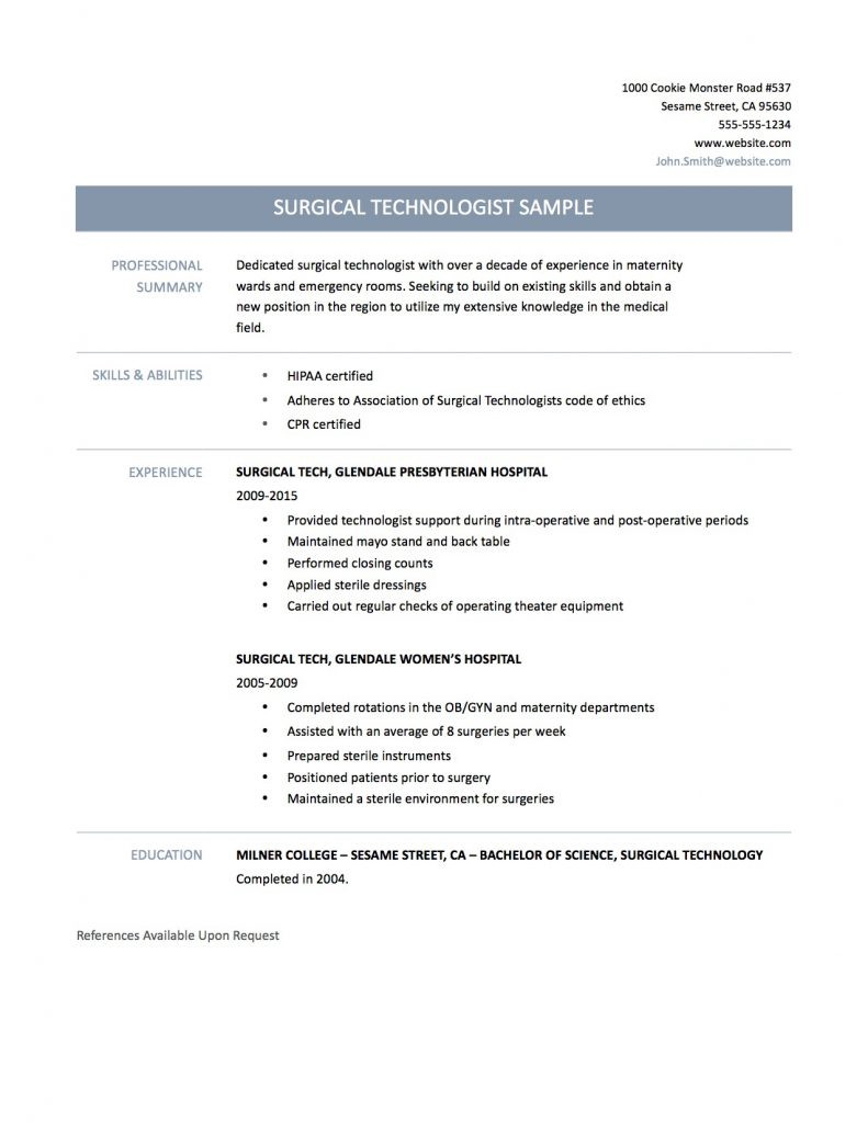 Surgical Technologist Resume.Surgical Tech Resume Tips Templates And Samples Online