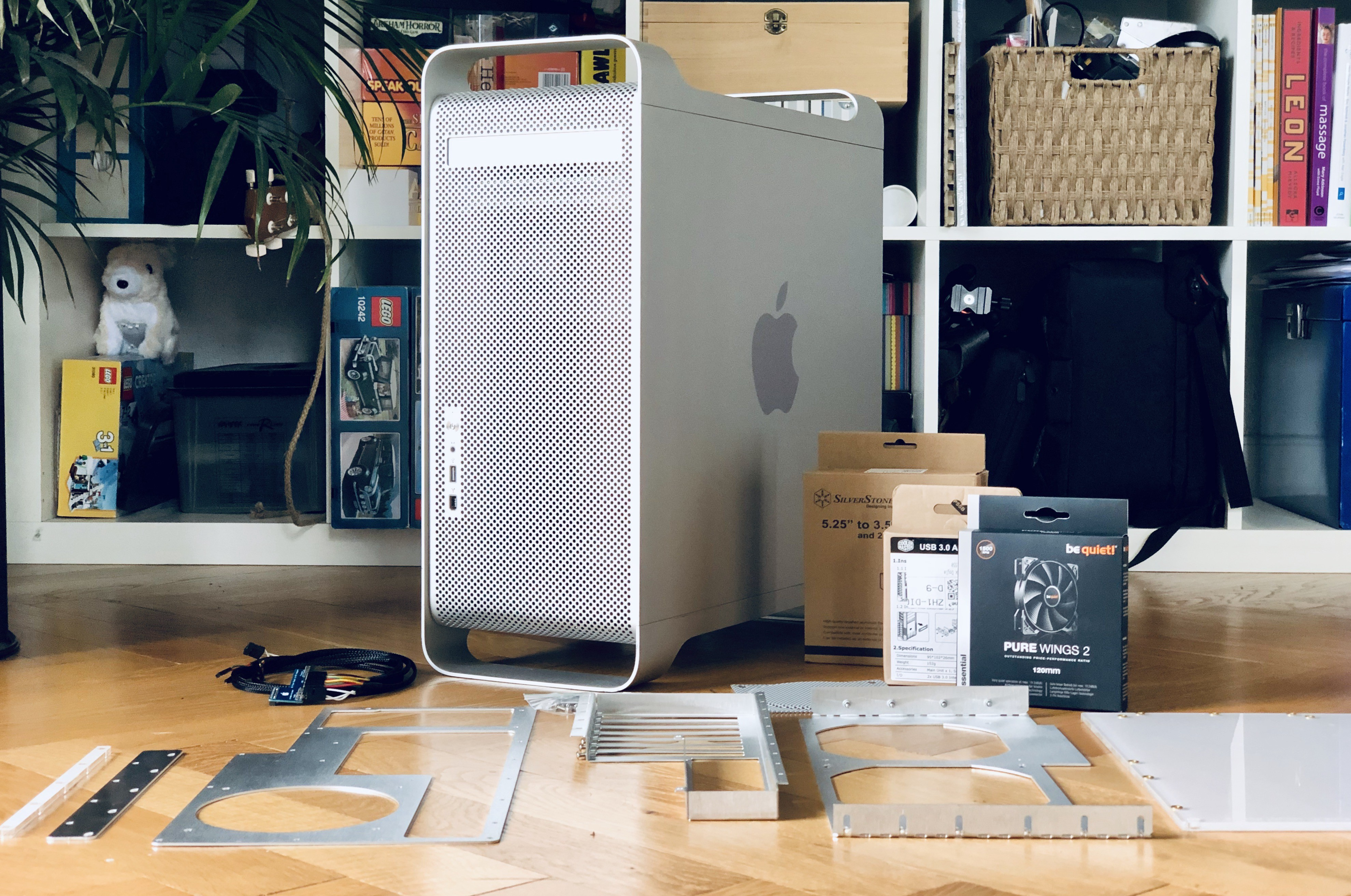 An Apple PowerMac G5 surrounded by modding components