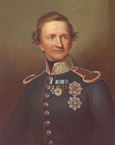 King Ludwig painted in a blue military uniform. He has short blonde/brown hair that's a little unkempt.