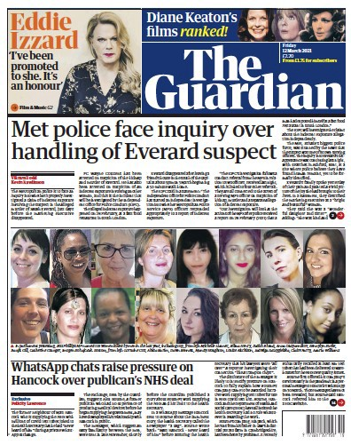 A Guardian newspaper front page, with faces of many women.