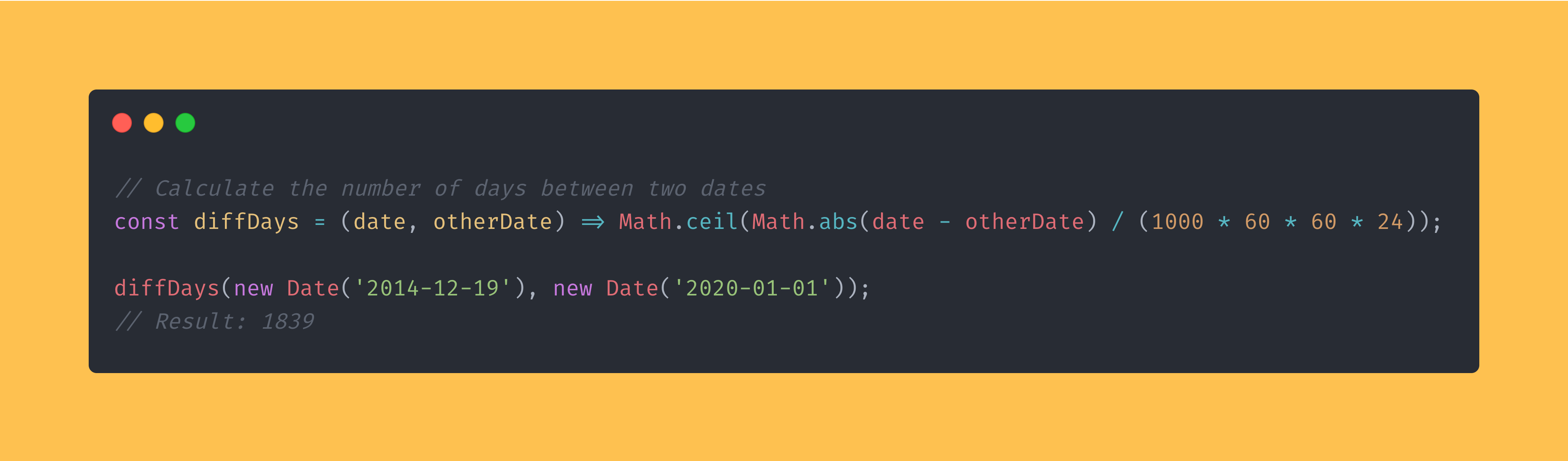 JavaScript function that calculates the number of days between 2 dates