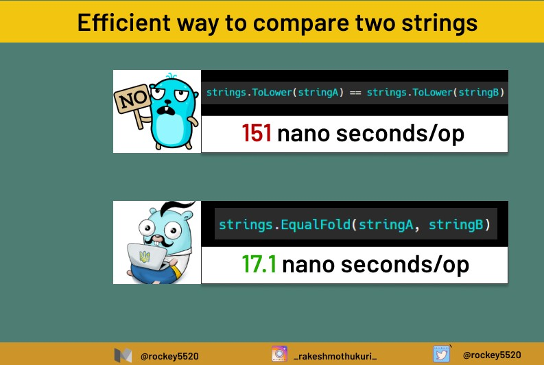 An efficient way to compare strings in Golang