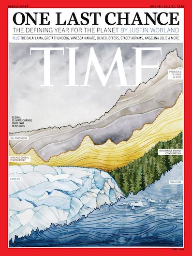 The TIME magazine cover created by Jill Pelto, which incorporates a variety of climate data graphs into natural landscapes.