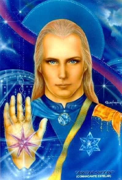 """a painting of a fair-skinned, blue eyed, blonde """"alien"""" that looks extremely human. It is wearing a blue and gold uniform that looks formal, and behind it is various new age and psychedelic imagery."""