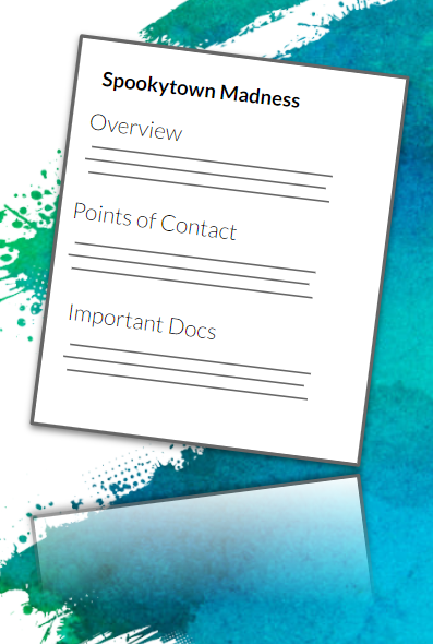 Simplified post-project overview featuring info like points of contact, important docs, etc.