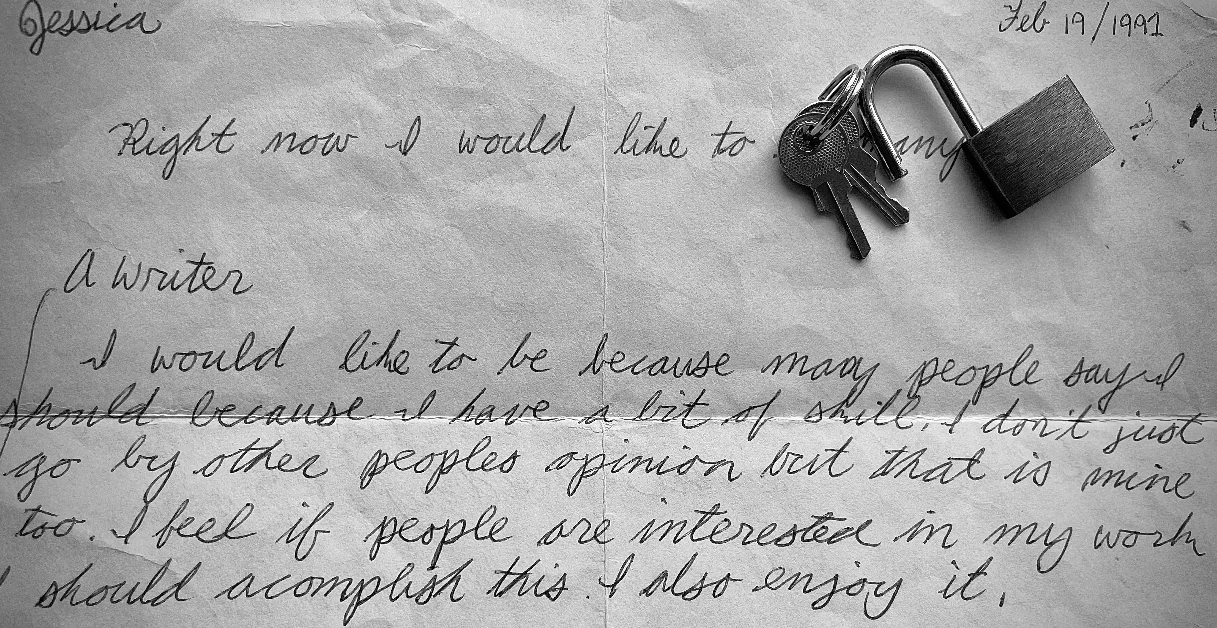 Photo of author's diary entry from 1991 with small lock and keys.