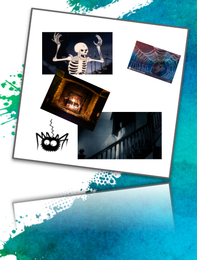 A simple mood board example, featuring a number of spooky pieces of artwork (spiders, skeletons, fireplaces, etc.)