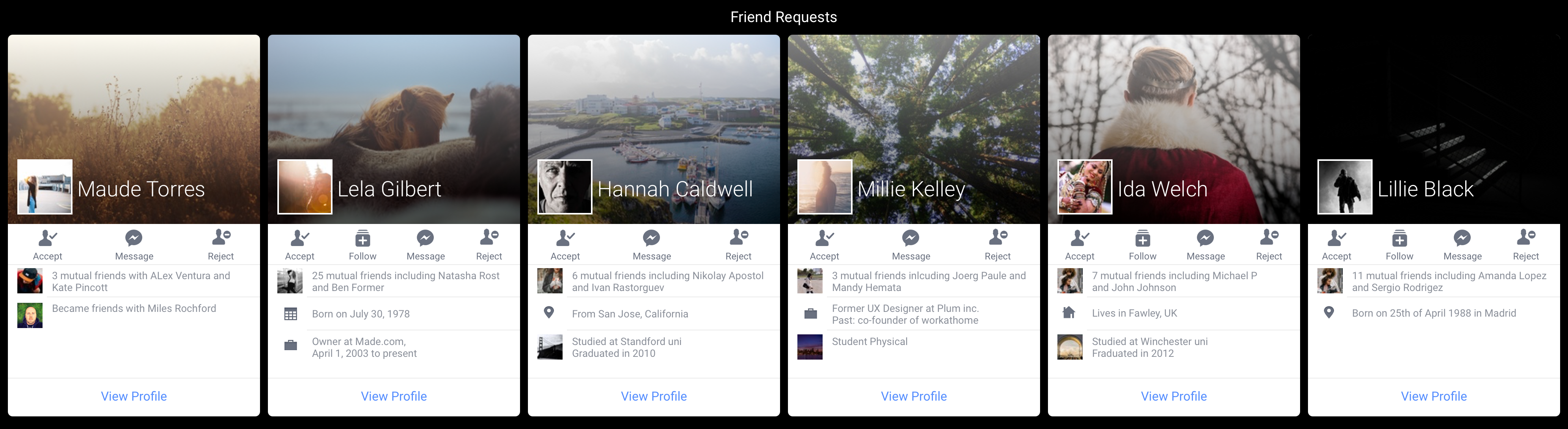 Improving Facebook Friend Requests screen with some FramerJS