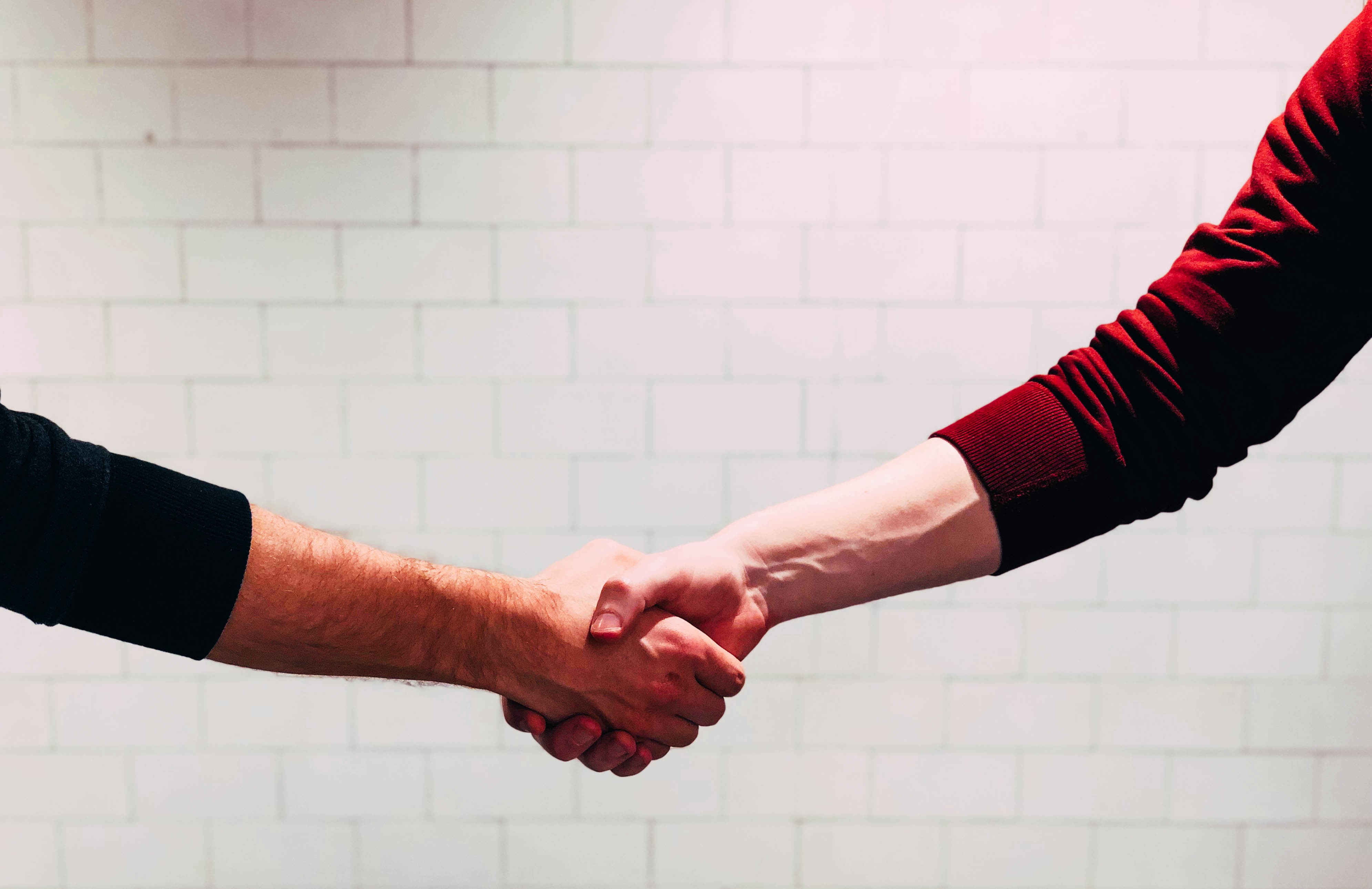 hand shake between two male arms