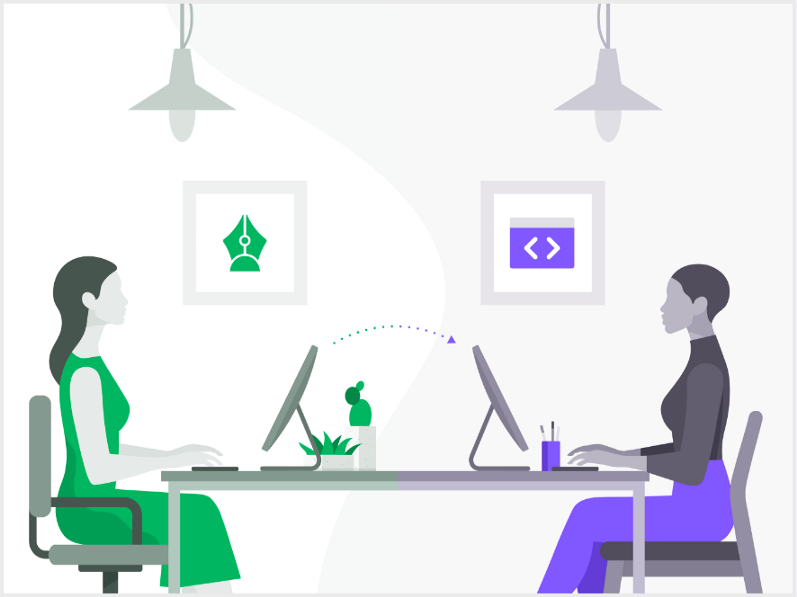 Illustrations showing a designer and developer sitting on each side of table and an arrow above them showing design to code.
