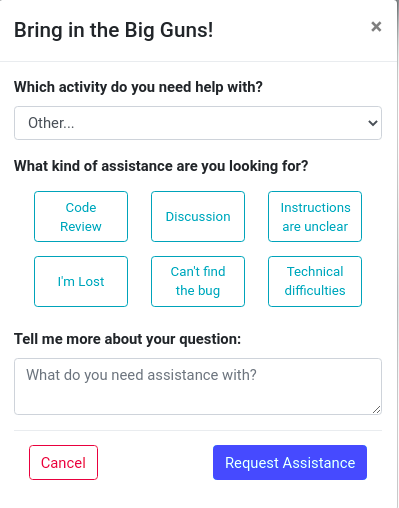 The interface on Compass learning platform to create an assistance request