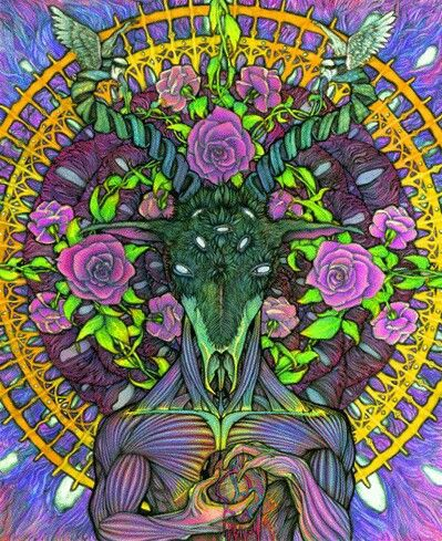 Psychedelic Baphomet, sourced from Pinterest.