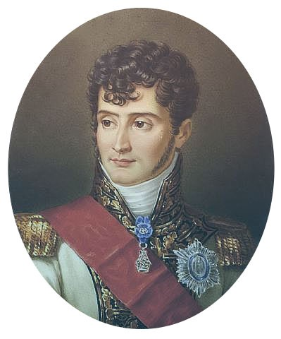 Jerome Bonaparte in a military uniform with diamond orders and adornments. He has short curly hair and long sideburns.