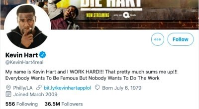 Screenshot of Kevin Hart's Twitter page which shows that he considers himself to be a brand