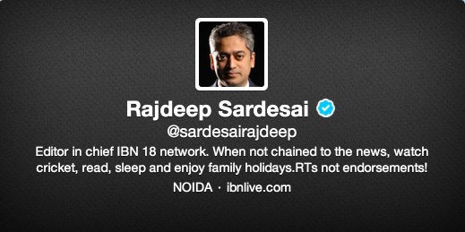 Rajdeep Sardesai on Twitter