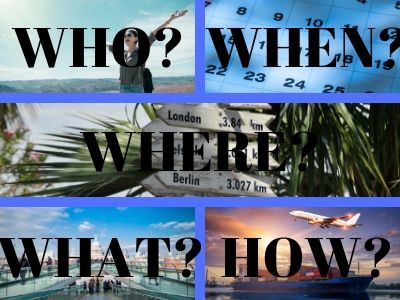 Who When Where What How graphic with vacation background