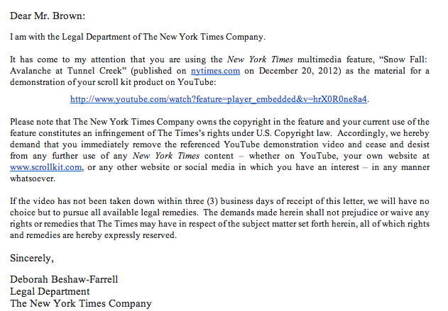 The Cease & Desist letter The New York Times sent to ScrollKit