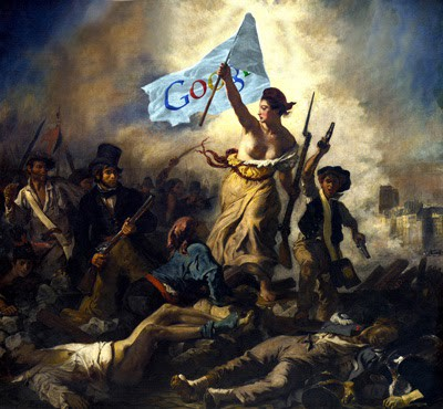 Woman carrying a flag with the Google logo into battle