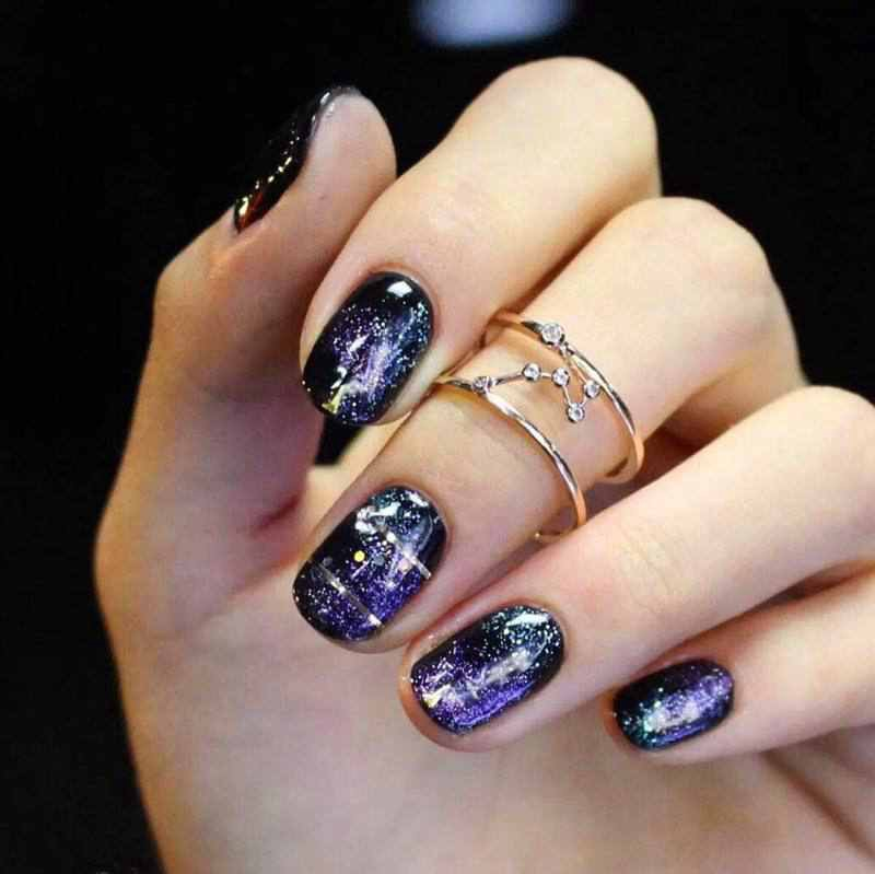 70+ Gorgeous Galaxy Nail Art Designs , Freya My , Medium