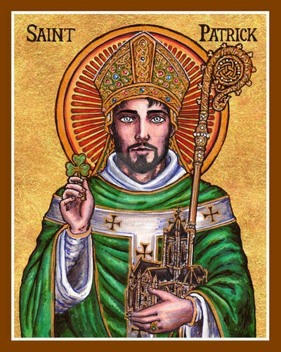 St. Patrick of Ireland - Theophilia is a Catholic artist who creates wonderful modern icons that you can check out on her Deviantart page.
