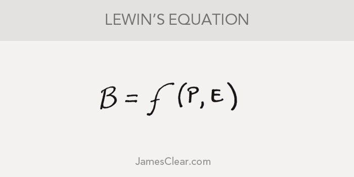 Lewins equation: Behavior is a function of the Person in their Environment.